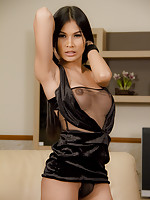 Bells Ladyboy cock upskirt in black thong and evening gown