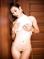 Gorgeous Asian post-op Jenny in a short white mini skirt